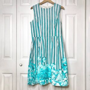 Oscar de la Renta sleeveless floral/ striped dress